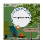 Camp here tile coaster