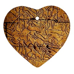 Ancient Egypt Mural 12aug 2014 Heart Ornament (Two Sides) by vanwinkle