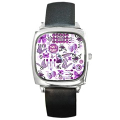 Fms Mash Up Square Leather Watch by FunWithFibro