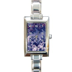 Pink And Blue Morning Frost Fractal Rectangular Italian Charm Watch by Artist4God