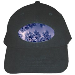 Pink And Blue Morning Frost Fractal Black Baseball Cap by Artist4God