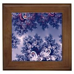 Pink And Blue Morning Frost Fractal Framed Ceramic Tile by Artist4God