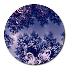 Pink And Blue Morning Frost Fractal 8  Mouse Pad (round) by Artist4God