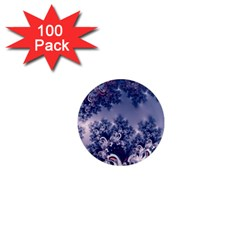 Pink And Blue Morning Frost Fractal 1  Mini Button Magnet (100 Pack) by Artist4God