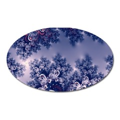 Pink And Blue Morning Frost Fractal Magnet (oval) by Artist4God