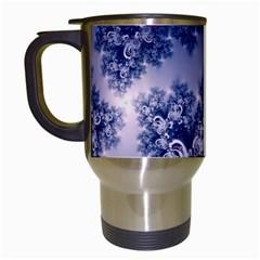 Pink And Blue Morning Frost Fractal Travel Mug (white) by Artist4God