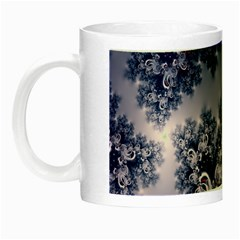 Pink And Blue Morning Frost Fractal Glow In The Dark Mug by Artist4God