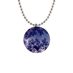 Pink And Blue Morning Frost Fractal Button Necklace