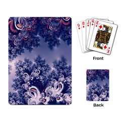 Pink And Blue Morning Frost Fractal Playing Cards Single Design by Artist4God