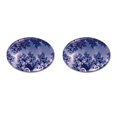 Pink And Blue Morning Frost Fractal Cufflinks (oval) by Artist4God