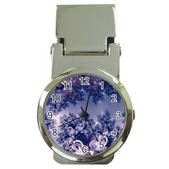 Pink And Blue Morning Frost Fractal Money Clip With Watch by Artist4God