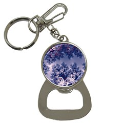 Pink And Blue Morning Frost Fractal Bottle Opener Key Chain by Artist4God