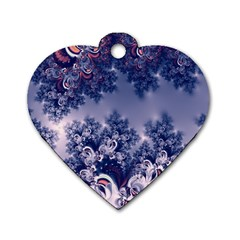 Pink And Blue Morning Frost Fractal Dog Tag Heart (two Sided) by Artist4God