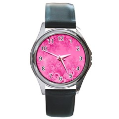 Soft Pink Frost Of Morning Fractal Round Leather Watch (silver Rim) by Artist4God