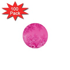 Soft Pink Frost Of Morning Fractal 1  Mini Button (100 Pack) by Artist4God