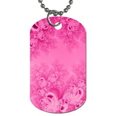 Soft Pink Frost Of Morning Fractal Dog Tag (two Sided)  by Artist4God