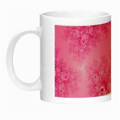 Soft Pink Frost Of Morning Fractal Glow In The Dark Mug by Artist4God