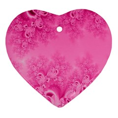Soft Pink Frost Of Morning Fractal Heart Ornament (two Sides) by Artist4God