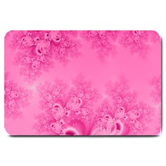 Soft Pink Frost Of Morning Fractal Large Door Mat by Artist4God