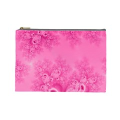 Soft Pink Frost Of Morning Fractal Cosmetic Bag (large) by Artist4God