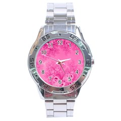 Soft Pink Frost Of Morning Fractal Stainless Steel Watch by Artist4God