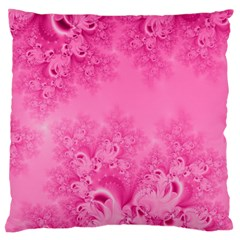 Soft Pink Frost Of Morning Fractal Large Cushion Case (two Sided)  by Artist4God