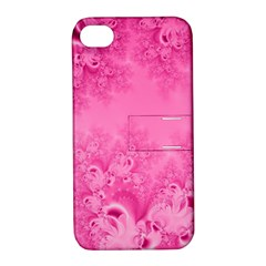 Soft Pink Frost Of Morning Fractal Apple Iphone 4/4s Hardshell Case With Stand by Artist4God