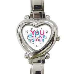 You Deserve My Smile Typographic Design Love Quote Heart Italian Charm Watch  by dflcprints