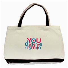 You Deserve My Smile Typographic Design Love Quote Classic Tote Bag by dflcprints