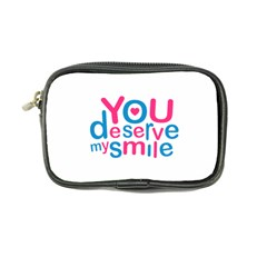 You Deserve My Smile Typographic Design Love Quote Coin Purse by dflcprints