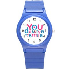 You Deserve My Smile Typographic Design Love Quote Plastic Sport Watch (small) by dflcprints