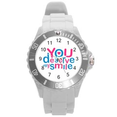 You Deserve My Smile Typographic Design Love Quote Plastic Sport Watch (large) by dflcprints