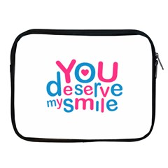You Deserve My Smile Typographic Design Love Quote Apple Ipad Zippered Sleeve by dflcprints