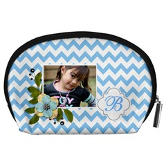Pouch (l) : Blue Chevron By Jennyl   Accessory Pouch (large)   Rfrpj3wvnf8b   Www Artscow Com Back