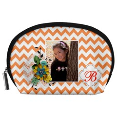 Pouch (l) : Orange Chevron By Jennyl   Accessory Pouch (large)   Lcjp32labh66   Www Artscow Com Front