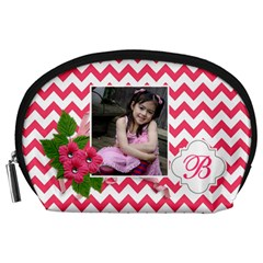 Pouch (l) : Pink Chevron By Jennyl   Accessory Pouch (large)   Avoov2748xeq   Www Artscow Com Front