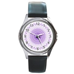 Mandala Round Leather Watch (silver Rim) by Siebenhuehner