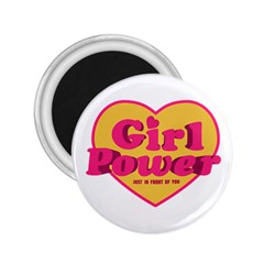 Girl Power Heart Shaped Typographic Design Quote 2 25  Button Magnet by dflcprints