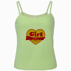 Girl Power Heart Shaped Typographic Design Quote Green Spaghetti Tank by dflcprints