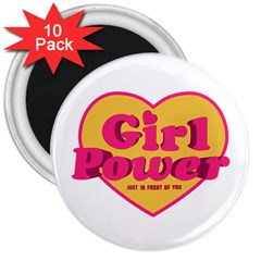 Girl Power Heart Shaped Typographic Design Quote 3  Button Magnet (10 Pack) by dflcprints