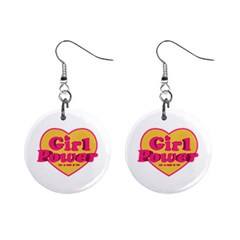 Girl Power Heart Shaped Typographic Design Quote Mini Button Earrings by dflcprints