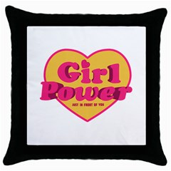Girl Power Heart Shaped Typographic Design Quote Black Throw Pillow Case by dflcprints