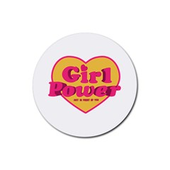 Girl Power Heart Shaped Typographic Design Quote Drink Coasters 4 Pack (round) by dflcprints