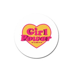 Girl Power Heart Shaped Typographic Design Quote Magnet 3  (round) by dflcprints