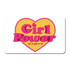 Girl Power Heart Shaped Typographic Design Quote Magnet (rectangular) by dflcprints