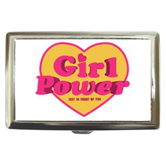 Girl Power Heart Shaped Typographic Design Quote Cigarette Money Case by dflcprints