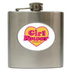 Girl Power Heart Shaped Typographic Design Quote Hip Flask by dflcprints