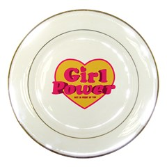 Girl Power Heart Shaped Typographic Design Quote Porcelain Display Plate by dflcprints