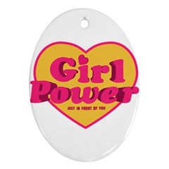 Girl Power Heart Shaped Typographic Design Quote Oval Ornament (two Sides) by dflcprints