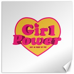 Girl Power Heart Shaped Typographic Design Quote Canvas 12  X 12  (unframed) by dflcprints
